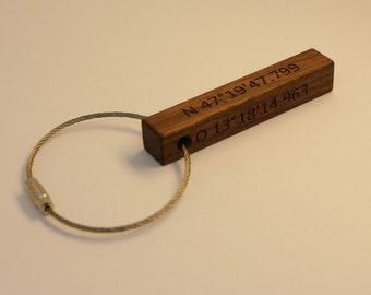 Keychain, twoside engraved, walnut, 65mm
