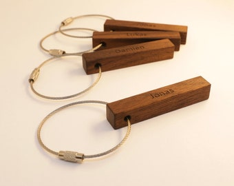 key holder made of walnut with personalized lettering