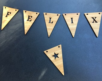 Name chain in bamboo with 6 pennants or more, customizable