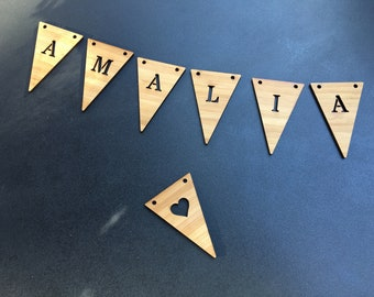 Name chain in bamboo with 7 pennants or more, customizable