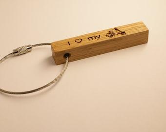 Keychain Vespa scooter, one side engraved, oak wood, 65mm