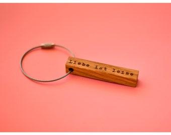 keychain wood, love is silent, Oak, 65mm