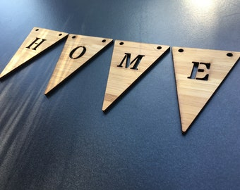 HOME Pennant necklace in bamboo with 4 flags or more, customizable