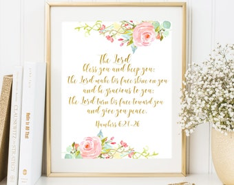 Bible verse art The Lord Bless You and Keep You Numbers 6:24-26 Floral Scripture art print Christian quote printable Gold Foil Calligraphy