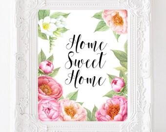 Home sweet home print Printable wall art Housewarming gift Guest Room Decor Entrance wall art home decor printable floral guest room Quote