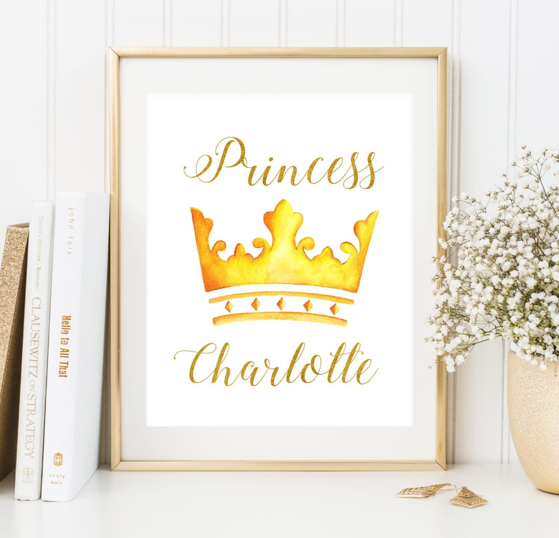 Custom baby girl name print Princess Room Decor Girl nursery   Etsy