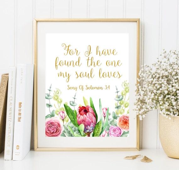Verset Biblique Mariage Imprimer Pour I Decoration Mariage Chretien Ont Trouve L Un Mon Ame Aime L Ecriture Murale Art Deco Mariage Cadeau Mariage