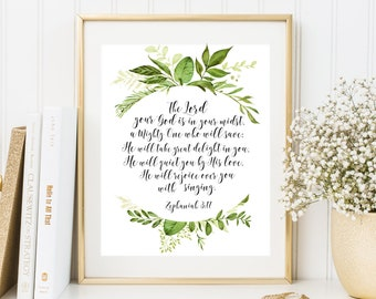 The Lord your God is in your midst Zephaniah 3:17 Bible Verse Wall Art Green Wreath Scripture Quote Christian Home Decor Instant Download