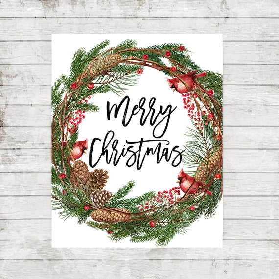 image about Merry Christmas Printable named Merry Xmas wreath printable Xmas household decor Xmas Printable Artwork Family vacation Wall Artwork Wintertime Decoration Xmas get together decoration