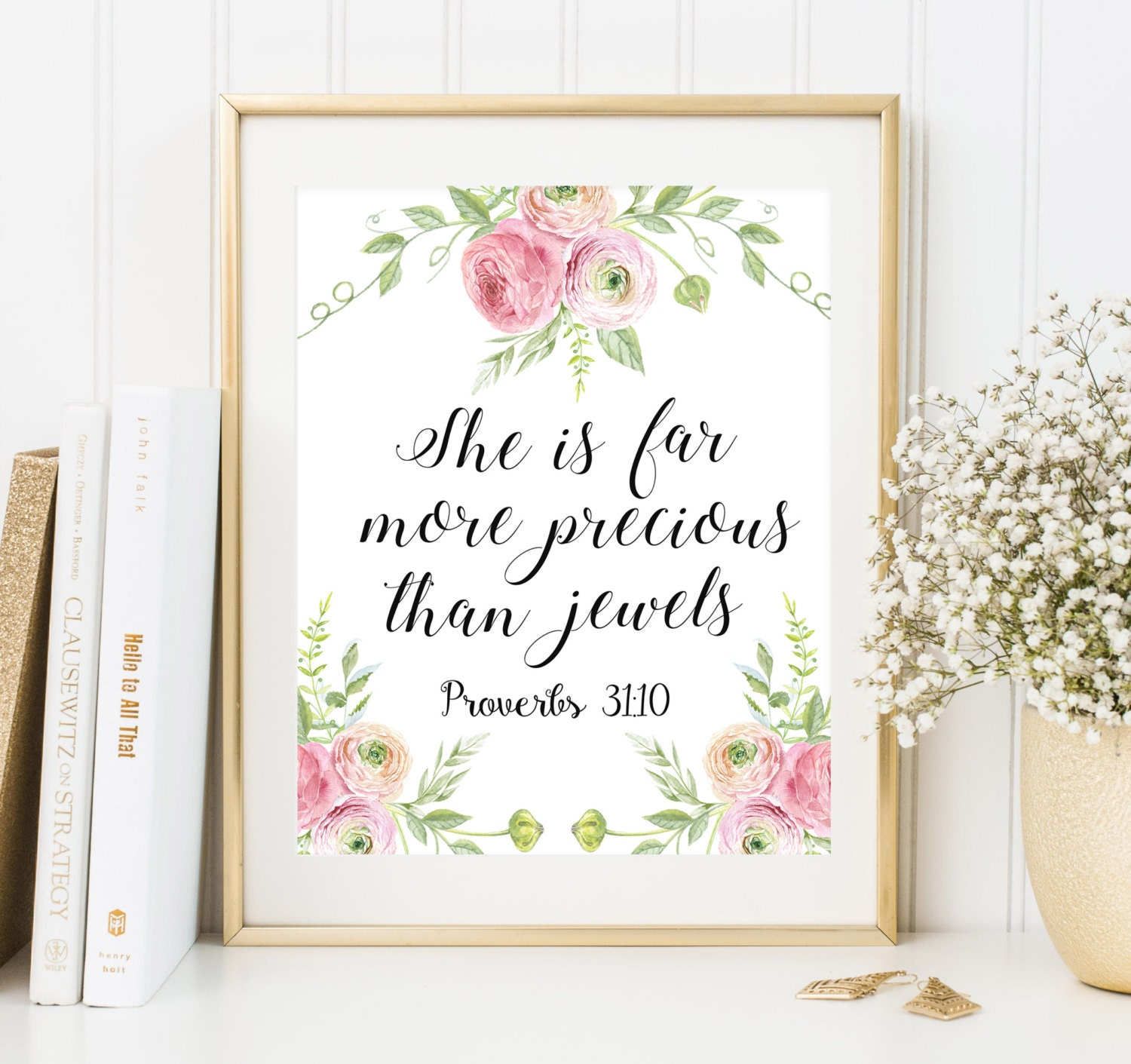Bible verse art She is far more precious than jewels Christian home decor  Nursery decor printable Scripture wall art Floral nursery decor