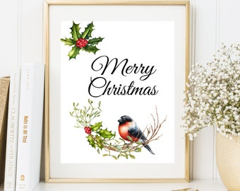 Christmas wall art printable Merry Christmas Print with Bird Bullfinch and Mistletoe Christmas home decor Christmas wall art decoration