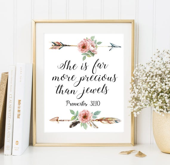 She is far more precious than jewels Bible verse art Christian home decor  Girls Nursery Print Scripture nursery Boho Arrows Nursery wall art
