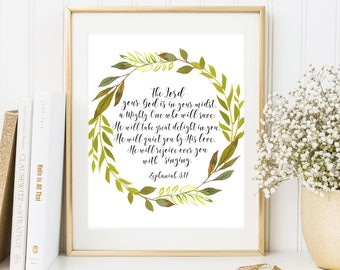 The Lord your God is in your midst Zephaniah 3:17 Floral Wreath Scripture Quote Bible Verse Wall Art Christian Home Decor Instant Download