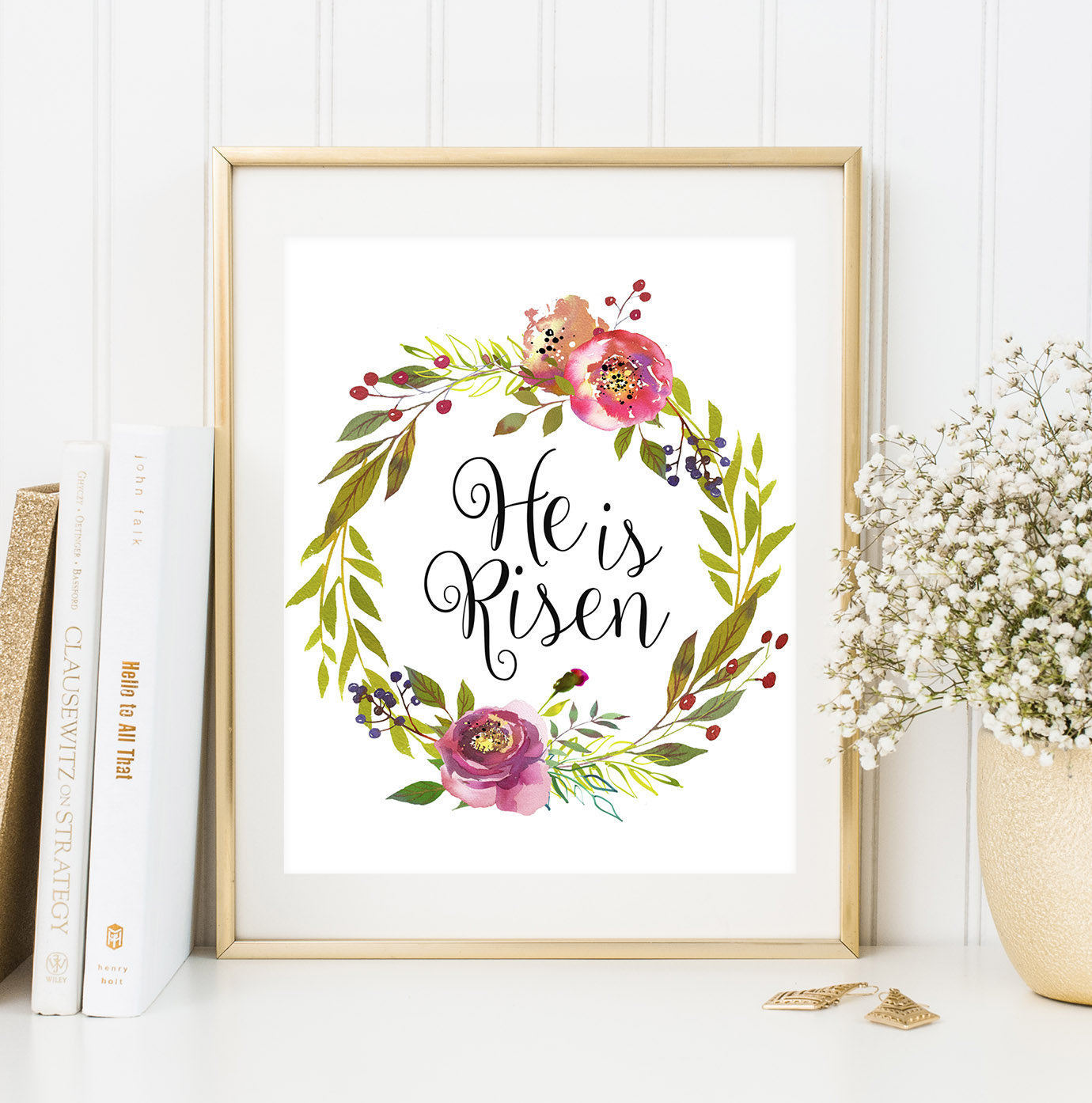 He Is Risen Print Easter Home Decor Easter Printable Wall Art Watercolor Spring Wall Art Bible Verse Floral Wreath Decor Christian Wall Art
