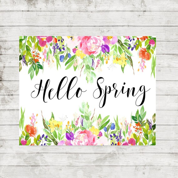 Hello Spring Print Home decor Welcome Spring Floral   Etsy