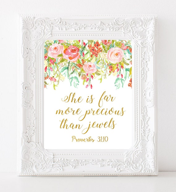She Is Far More Precious Than Jewels quote Bible Verse Nursery Art  Scripture wall art Girls room decor Floral nursery decor Gold kids decor