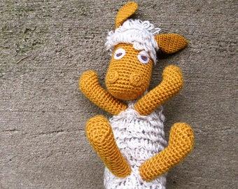 Vintage Sheep Toy Stuffed Toy Stuffed Sheep Crochet Sheep Handmade Sheep Wool Sheep  Rattle Toy Amigurumi Plush Sheep Crochet Animal