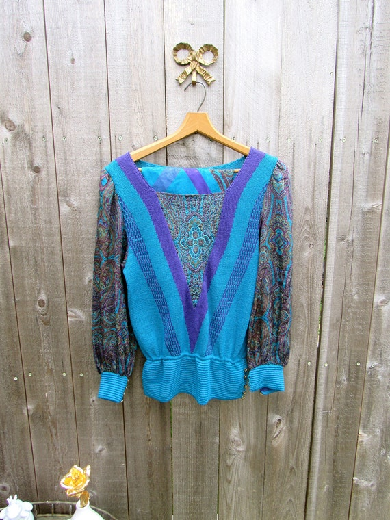 Vintage Knit Set Vintage Two Piece Blue Silk Knit