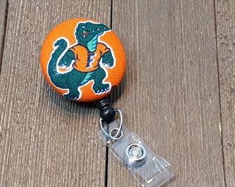 Florida Gators ID Badge Beaded Lanyard ID Badge Holder Orange and Blue