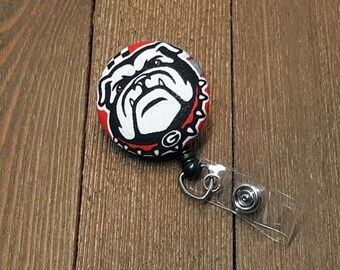 FTH Georgia Bulldogs Badge Reel with Alligator Clip