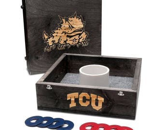 Texas Christian University Horned Frogs TCU Washer Game Set Onyx Stained