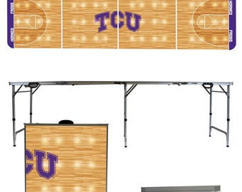 Texas Christian University Horned Frogs TCU 8 Foot Portable Folding Tailgate Table Designs