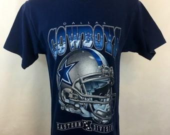 Vintage Dallas Cowboys T Shirt Tee 1990s Champion NFL Medium Texas Graphic T -Shirt Super Bowl Champions 90s Da Boys Navy Blue Ds Helmet e6092fd1e