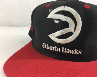 814eaadee4116 Vintage Atlanta Hawks Snapback Brand NEW With Tags Never Worn NBA Authentic  Georgia 90s Cap 1990s Nwt Embroidered Black Red FREE Shipping