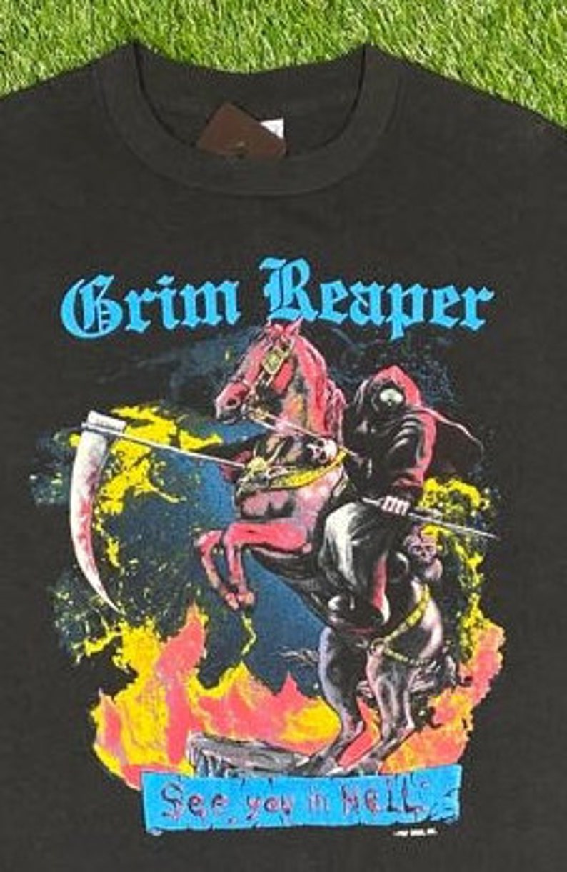 Vintage Grim Reaper Hell on Wheels Tour T Shirt Rock Band Tee Made USA Size Xtra Large XL 1980s 80s Heavy Metal Rock Tee Rare