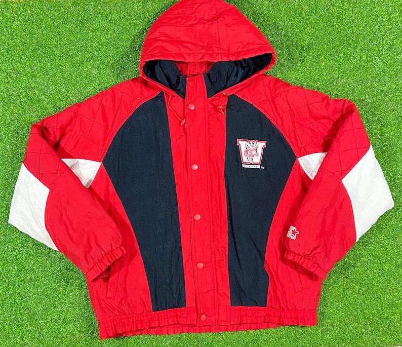 Vintage Wisconsin Badgers NCAA Football Puffer Jacket Hoodie UW Comfy Starter Large 90s Madison Bucky Badger Warm