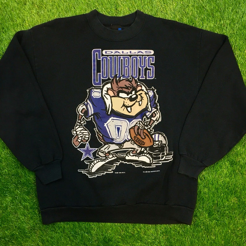 a40604f8 Vintage Dallas Cowboys Looney Tunes Taz NFL Crewneck Sweater 1994 Space Jam  Comfy Cozy Sweatshirt Warm