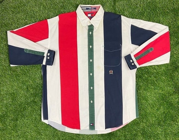 vintage 90s tommy hilfiger sailing gear button down shirt size xxl