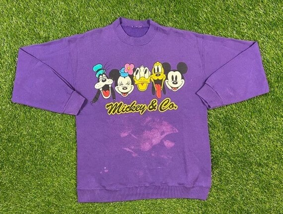 Vintage 90/'s Mickey /& Co Destroyed Cut Off Sleeve Embroidered Sweatshirt M
