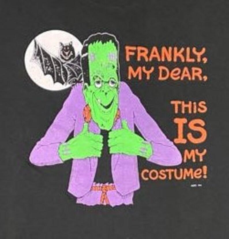 Vintage Halloween Frankenstein Graphic Tshirt Trick or Treat Oct 31 Screen Stars Size XL Made in USA Spooky 1980s 80s Casablanca