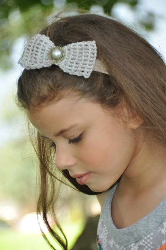 Fall Crochet bows on thick elastic Flower Headband Hair Band  6bce3413cc4