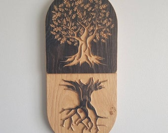 Handmade wooden double tree. Solid oak , aged