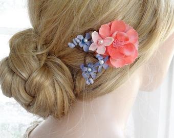 coral hair flower, flower hair pin, prom hair accessories, coral bridesmaid hair accessories, periwinkle blue, flowers for hair, hair clip
