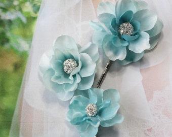 teal hair pins, prom hair clips, teal hair accessories, prom hair accessories, bridal hair pins, turquoise hair clip, aqua blue hair pins