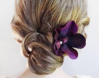 eggplant hair flower, eggplant orchid, dark purple hair flower, eggplant wedding, bridal hair flower, prom hair accessories, hair pin