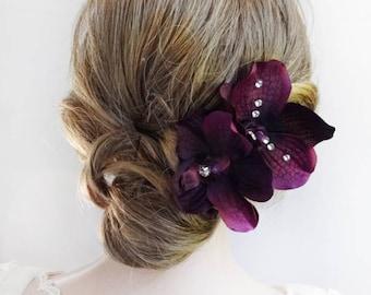 eggplant purple hair pins, eggplant orchid, hair flowers for women, eggplant wedding, bridal hair flower, prom hair accessories, hair pin