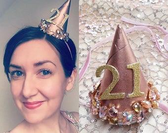 Birthday Hat Adult Custom Hats Jeweled 21st Party Headband