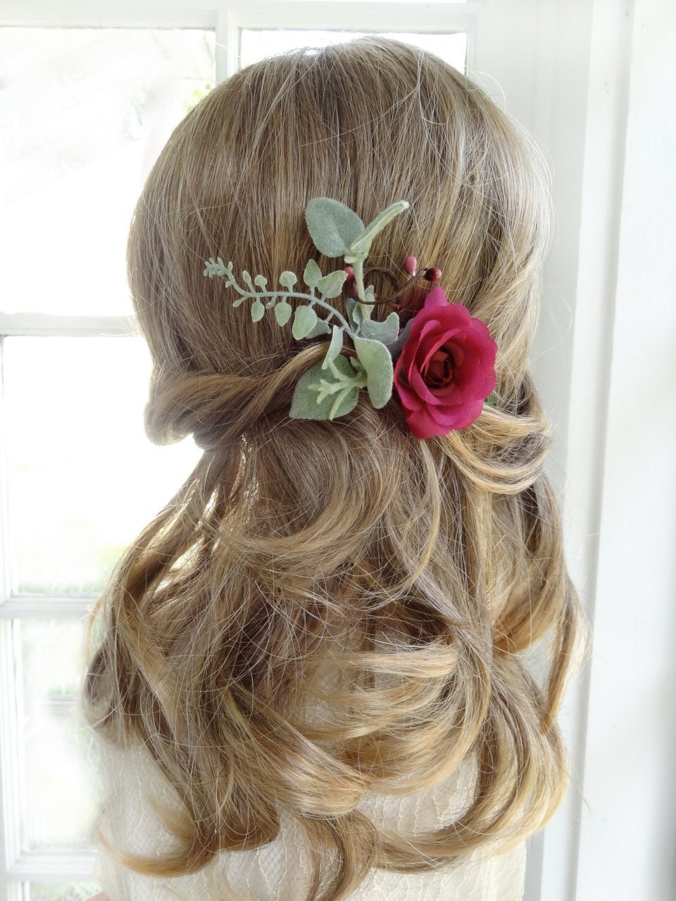 Dark Pink Hair Pin Raspberry Flower Hair Pin Floral Hair Etsy
