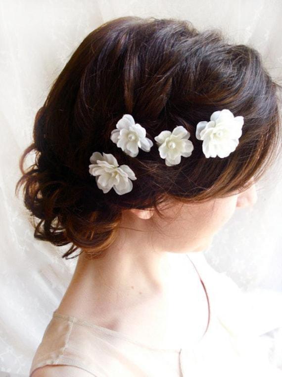White flower hair pins hair flower wedding white hair clip etsy image 0 mightylinksfo