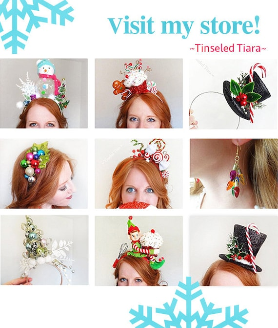 Christmas Mini Snowman Hat on Headband with Holly /& Berries Dec Fun Party Hat