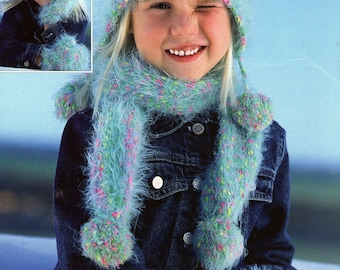 PDF Girl's Hat Scarf and Mittens in fashion yarn