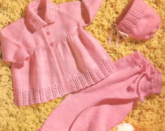 Vintage Sirdar Knitting Pattern to make Girl's Pram Set in 4 Ply Yarn
