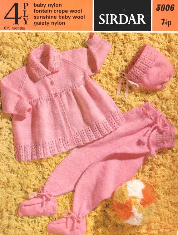 f988118b2 Vintage Sirdar Knitting Pattern to make Girl s Pram Set in