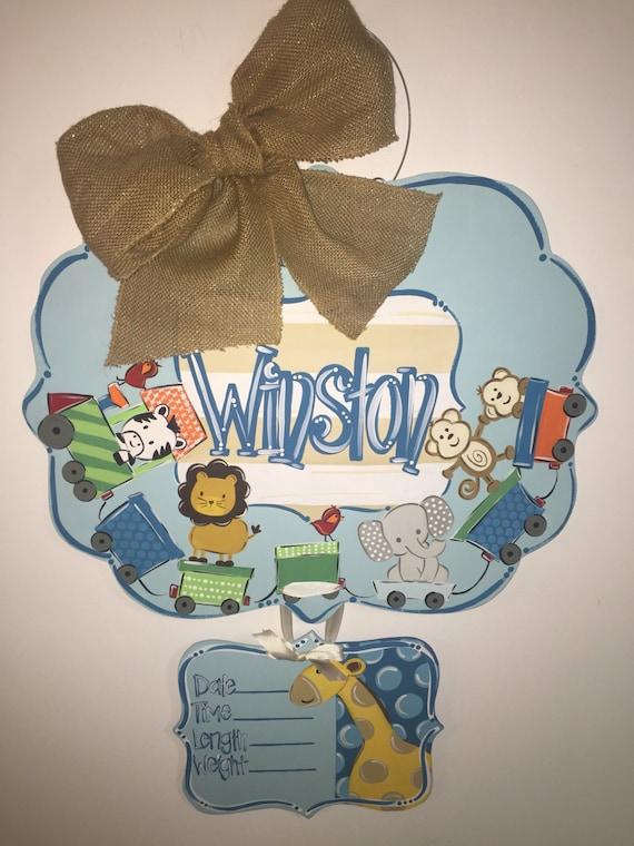 Baby Boy Hospital Door Hanger Animals Birth Announcement