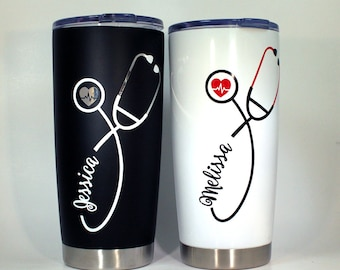 Nurse Stethoscope Travel Cup Personalized Gift Appreciation Tumbler Immitation Yeti Free Shipping