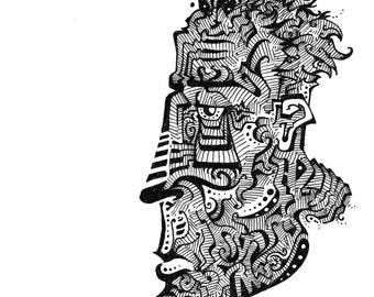 Surreal high contrast pen and ink print of a face profile, black and white drawing